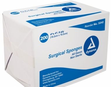 """4"""" X 4"""" NON-STERILE SURGICAL SPONGES 8 PLY : BOX OF 200"""