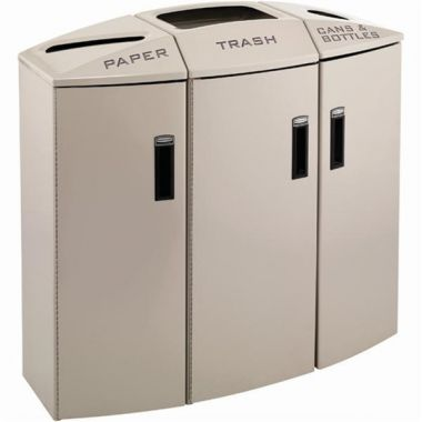 Rubbermaid® Element 3-Stream Indoor Waste and Recycling Station, Desert Pearl, 44 Gallons