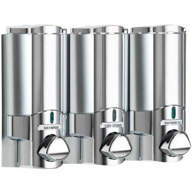 Aviva Three Chamber Dispenser Solid Satin Bottle with Chrome (37344)