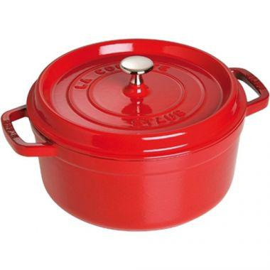 Staub® Round Cocotte, Cherry, 4 Qt - RFS003/40509-835, Free Shipping in Canada. Shop Linen Plus