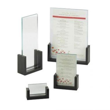 "CalCal-Mil® Bamboo U-Frame Menu/Card Holder, Black, 8.5"" x 11""- RFS471/1510-811-96"
