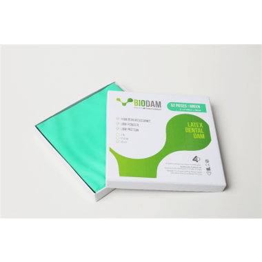 "4D BIODAM Low Protein Latex Dental Dam 6""x 6"" Heavy Green 36/box"