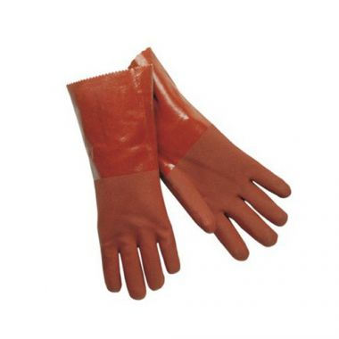 "Crawford Broom & Brush Co® Double Dipped PVC Gloves, Red, 18"" - RFS1040/MG1418T"