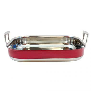 Tablecraft® Tri-Ply Roasting Pan, Red, 6 Qt- RFS558/CW2032R, Free Shipping in Canada. Shop Linen Plus
