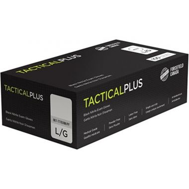 Forcefield Tactical PLUS Black Nitrile Examination Gloves Powder Free Medium 5 mil - 100/Box