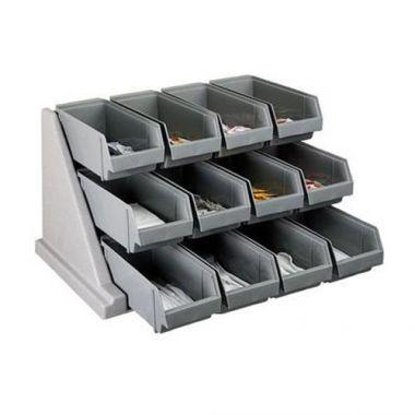 Cambro® Organizer Rack, 12 Bins, Black - RFS025/12RS12110