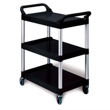 Rubbermaid® 3 Shelf Utility Cart, Black, 200lb - RFS152/FG342488BLA