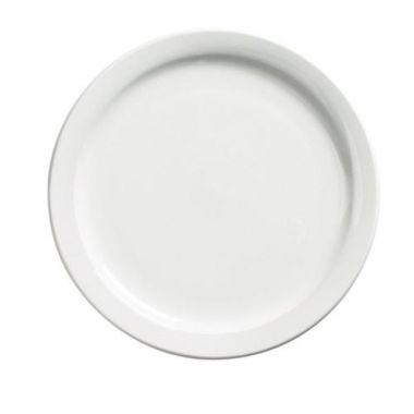 "Browne® Palm Ceramic Dinner Plate, White, 9.5"" - RFS016/563965"