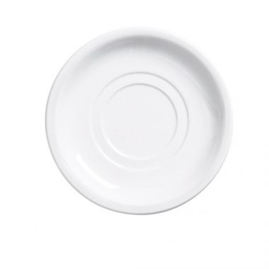 """Browne® Palm Ceramic Double Well Saucer, White, 5.5"""" - RFS016/563972"""