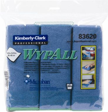 Kimberly-Clark 83620 WYPALL Cloths w/Microban, Microfiber, 15 3/4 x 15 3/4, Blue, 6/Pack
