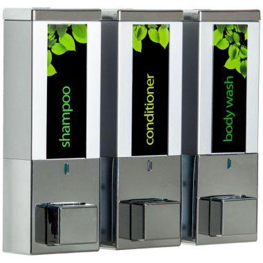 iQon Three Chamber Dispenser Solid Chrome Satin Silver 2/Pack