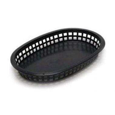 """Tablecraft® Chicago Platter Basket, Black, 10.5"""" x 7"""" - RFS558/1076BK"""