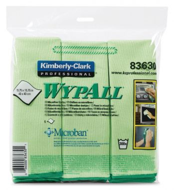 Kimberly-Clark 83630 WYPALL Cloths w/Microban, Microfiber, 15 3/4 x 15 3/4, Green, 6/Pack