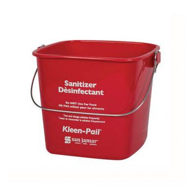 San Jamar® Kleen-Pail® Sanitizer Bucket, Red, 6 Qt - RFS702/KP196RD
