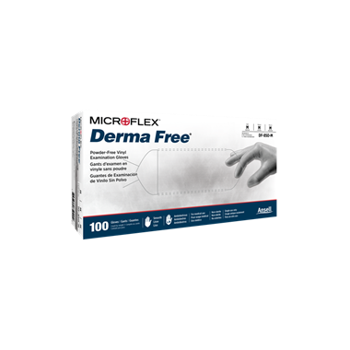 Ansell Derma Free Glove Vinyl, PF, Large, 100/box