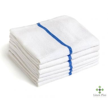 "Gold + Cross™ 100% Cotton Terry Bar Wipes 16""x 19"" White w/Blue Stripe – Pack of 12"