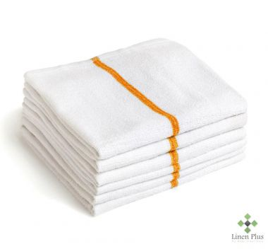 "Gold + Cross™ 100% Cotton Terry Bar Wipes 16""x 19"" White w/Yellow Stripe – Pack of 24"