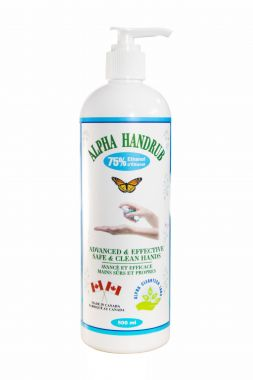 Alpha Hand Sanitizer (Made in Canada) 500 mL 75% Ethyl Alcohol Health Canada Approved - NPN80098785