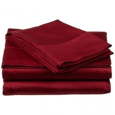 Endurance™ T180 Flat Sheets 55/45 Cotton/ Polyester Burgundy