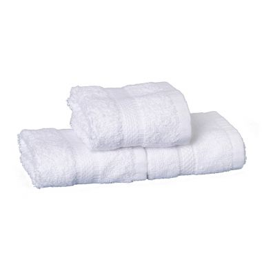 Charisma™ Hotel Face Towel 86/14 Ringspun Cotton/Polyester 13x13 wt. 1.35lbs/dz. Dobby Border White 12/Pack