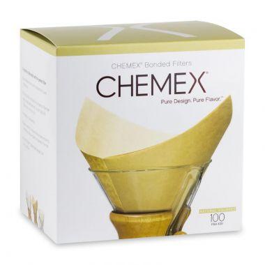 CHEMEX-FSU 100-COFFEE FILTER SQUARES NATURAL 100/BOX-#FSU100EDCHEMFILNATURAL