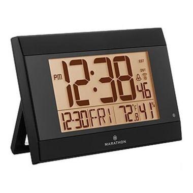 Marathon Atomic Digital Wall Clock With Auto-Night Light, Temperature & Humidity, Black (CL030052BK)