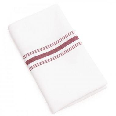 Buy Bistro Napkins White with Maroon Stripes | Linen Plus