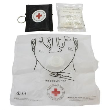 CANADIAN RED CROSS-CPR KEY CHAIN MASK AND GLOVES - BLACK