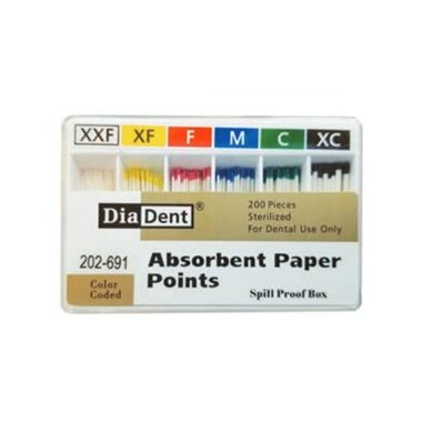 DiaDent Absorbent Paper Points ISO Sizes Non-Marked Cell Pack #C, 200/box