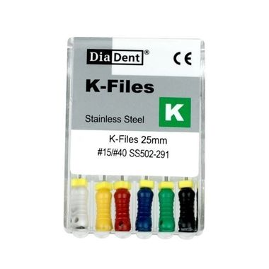 DiaDent Stainless Steel K-Files #25, 21mm, pkg/6