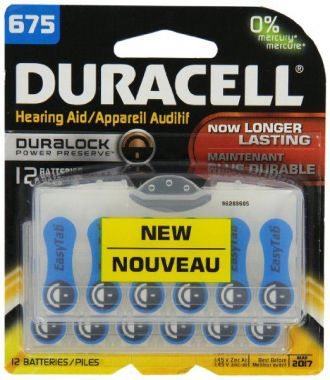 Duracell® Hearing Aid Batteries with Easy Blue Tab,Size #625, Pack of 12