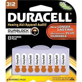 Duracell® Hearing Aid Batteries with Easy Brown Tab,Size #312, Pack of 8