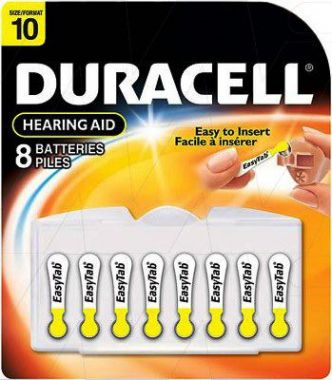Duracell® Hearing Aid Batteries with Easy Yellow Tab, Pack of 8