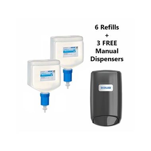 Ecolab Quik-Care Foam 70% v/v Hand Sanitizer Nexa Compact Dispenser Bundle, 6x750ml PLUS 3 BONUS DISPENSERS