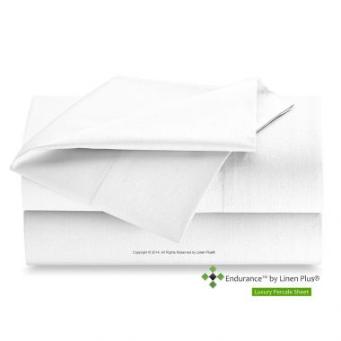 Endurance™ by Linen Plus® T200 Luxury Percale Flat Sheet 60/40 Cotton/Polyester,  Twin, White