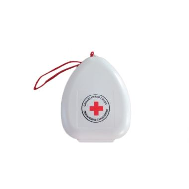 RED CROSS CPR MASK WITH 02 INLET IN CLAMSHELL