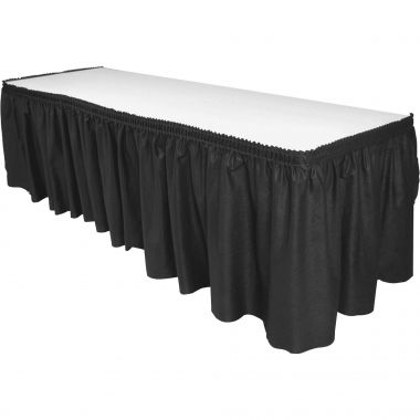 Genuine Joe Nonwoven Table Skirts Rectangular Table Skirt , Black