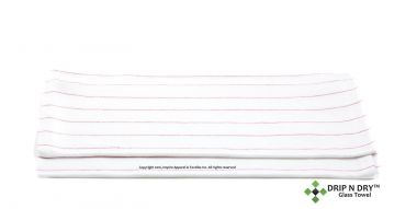 """DRIP N DRY™ Commercial Glass Towel,17"""" X 3"""",White w/Red Stripes"""