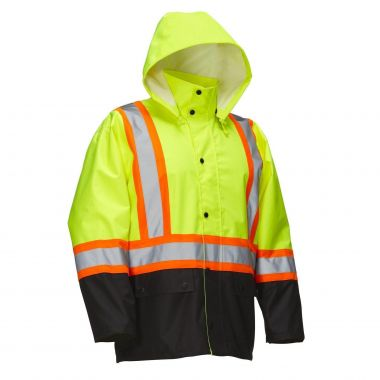Forcefield Hi Vis Safety Rain Jacket with Snap-Off Hood