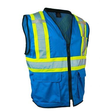 Forcefield Hi Vis Traffic Safety Vest with Zipper Front, Tricot Polyester, 3 Sizes