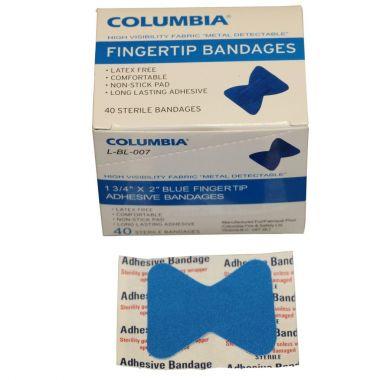 """1 3/4"""" X 2"""" BLUE FINGERTIP BANDAGES BOX OF 40"""