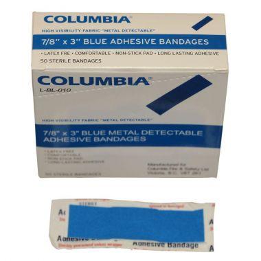 "7/8"" X 3"" BLUE BANDAGE BOX OF 50 (1.9CM X 7.62CM)"