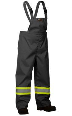 Forcefield Hi Vis Safety Rain Overall (023-HVRBPORT)-Black-S