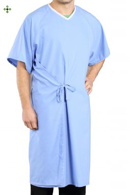 Gold + Cross™ 65/35 Cotton/Polyester Patient Gown, Aqua