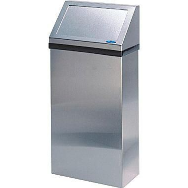 "Frost Stainless Steel Wall Waste Receptacle with Swing Door Lid, 41L, 16"" W x 7 1/2"" D x 34"" H"
