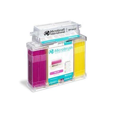 Microbrush Plus Applicators Dispenser Kit Fine Pink/Yellow, Dispenser with 400 applicators