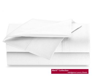 Merit Collection™ T300 Indulgence Luxury Flat Sheets, Sateen Weave, White