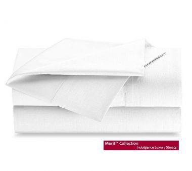 Merit Collection™ T300 60/40 Cotton/Polyester Luxury Sateen Finished Sheets & Pillowcase, White