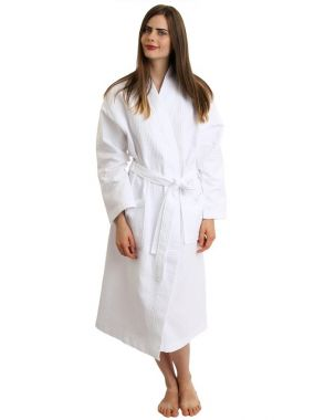 Merit Collection™ 100% Cotton Waffle Bathrobe 2 Pocket 300GSM One Size White