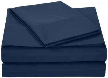 Linen Plus®, Endurance™, T180 Fitted Sheets, 55/45 Cotton/ Polyester, Navy Blue